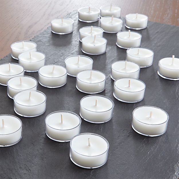 White Clear-Cupped Tea Lights, Set of 25