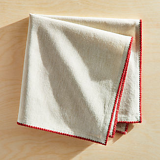 Bailey Natural and Red Napkin