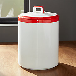 Baker Red and White Kitchen Canisters | Crate and Barrel