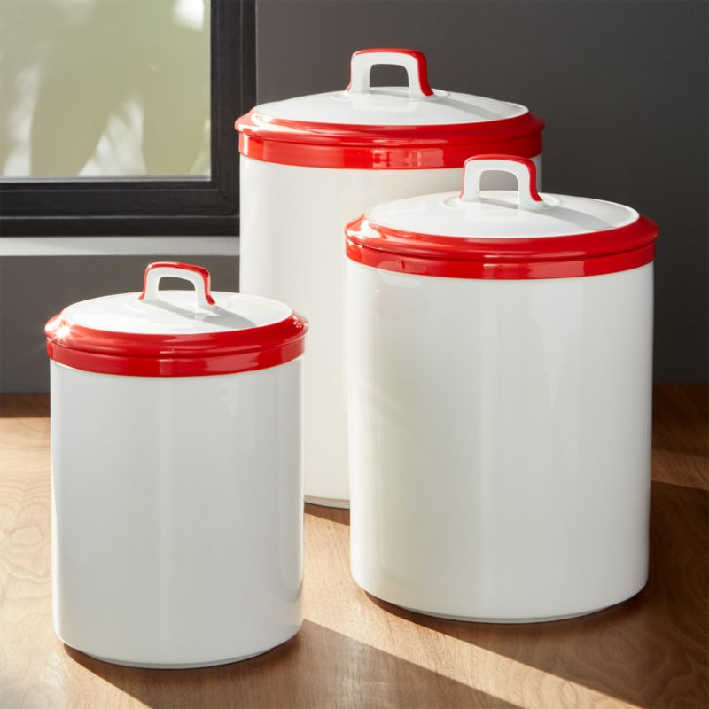 Baker Red and White Kitchen Canisters Crate and Barrel
