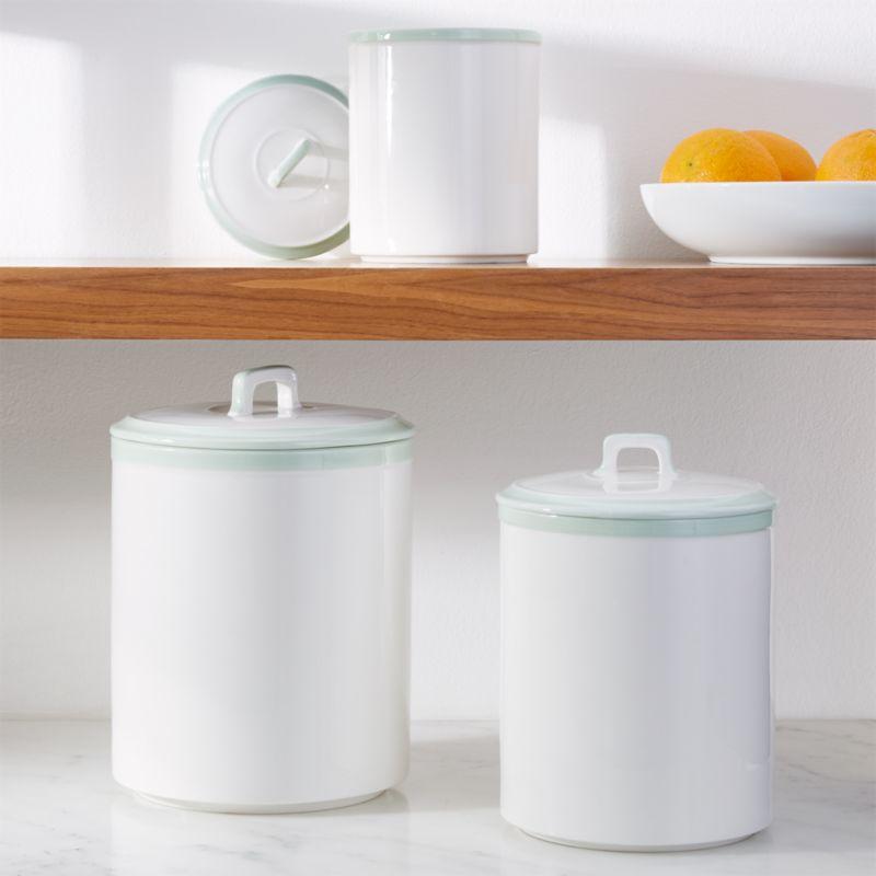 Baker Pistachio Rim Ceramic Canisters