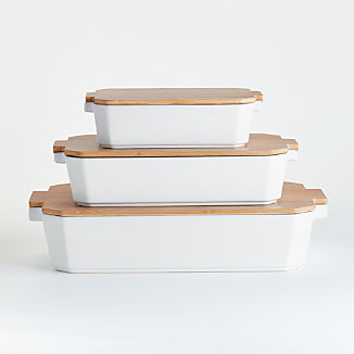 Set of 3 Baking Dishes with Bamboo Lids
