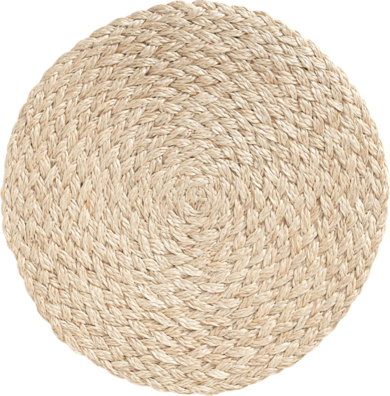 Textural round of hand-braided abaca delivers an earthy yet sophisticated presence to your table.  The durable fiber grows in abundance in the Philippines and is biodegradable.<br /><br /><NEWTAG/><ul><li>100% biodegradable, eco-friendly abaca</li><li>Clean with a soft bristle brush to remove crumbs</li></ul><br />