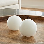 White Ball Candles, Set of 2