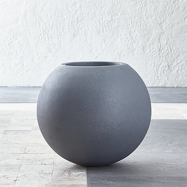 Small Grey Ball Planter