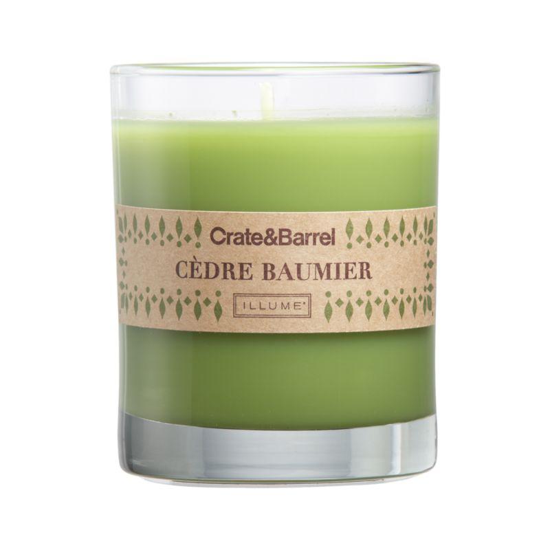 The crisp scent of winter pine and cedar wafts warm seasonal fragrance from green candle set in a clear glass.<br /><br /><NEWTAG/><ul><li>Food-grade paraffin wax</li><li>Cotton wick</li><li>Glass container</li><li>Scented</li><li>Burn time: 40 hours</li><li>Made in multiple countries</li></ul>