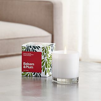 Balsam & Plum White Glass Candle