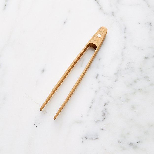 Bamboo Toast Tongs with Magnet - Image 1 of 6