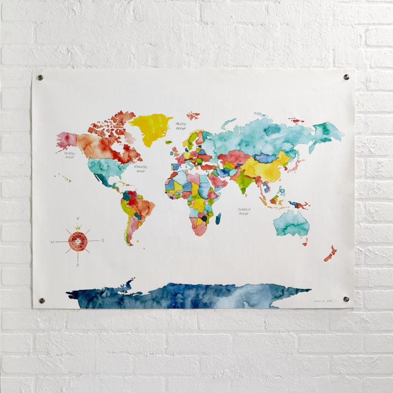 Watercolor World Map Canvas Reviews Crate And Barrel