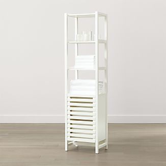 white bathroom storage tower bathroom storage crate and barrel 21452