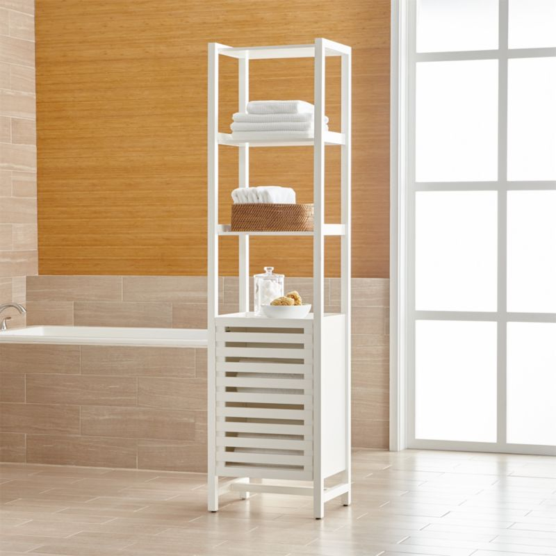 white bathroom storage tower banya white bath tower reviews crate and barrel 21452