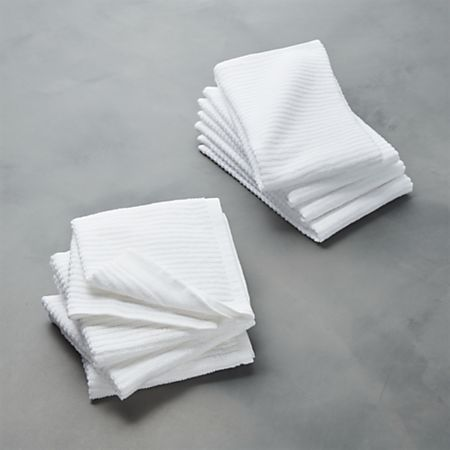 2 of Each New Black and White Kitchen Dish Towel and Dish Cloth Set