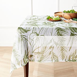 Barbados Linen Green Leaf Tablecloth