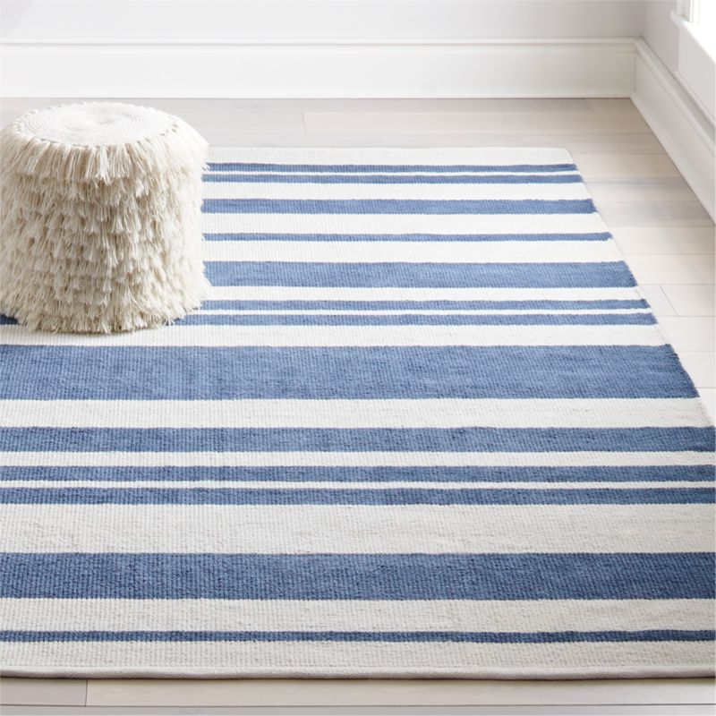 Barcode Blue Striped Rug Crate And Barrel