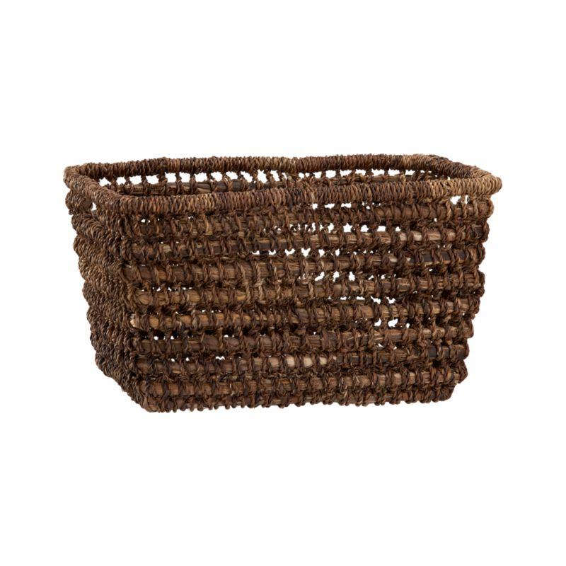 Handcrafted tote of durable, renewable bacbac leaves neatly stashes household clutter, leaving behind rustic good looks.<br /><br /><NEWTAG/><ul><li>100% bacbac leaves</li><li>Cutout handles</li><li>Indoor use only</li><li>Wipe with dry cloth</li><li>Made in The Philippines</li></ul><br />