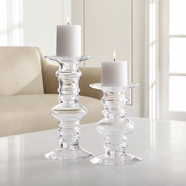 Barlow Clear Glass Pillar Candle Holders