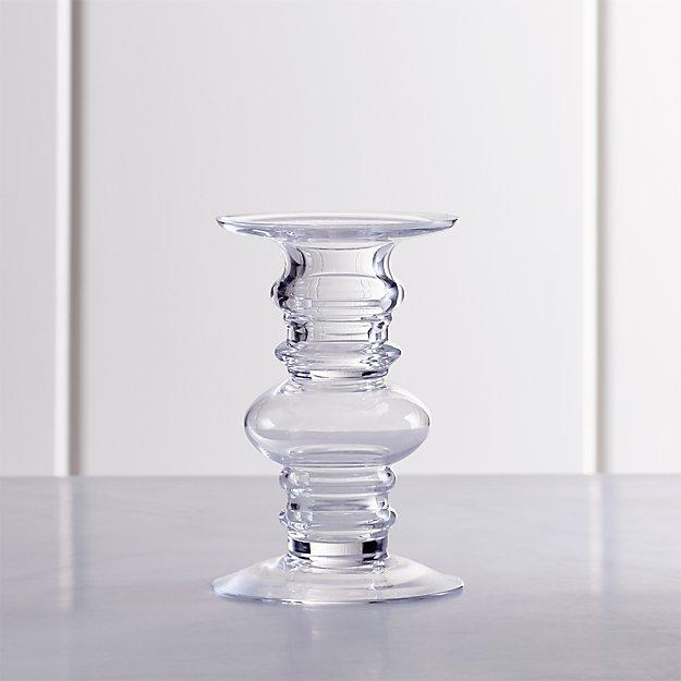 Barlow Short Clear Glass Pillar Candle Holder