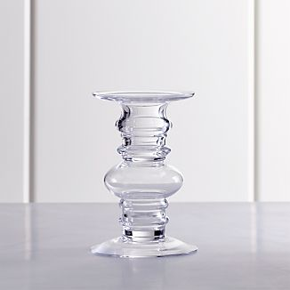 Barlow Short Clear Glass Pillar Candle Holder