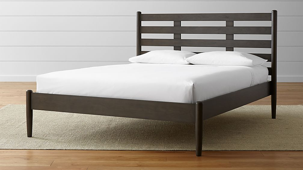 barnes smoke brown queen bed | crate and barrel