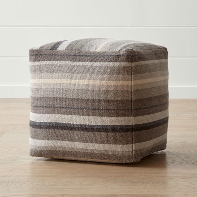 barnett 18 x18 grey pouf reviews crate and barrel. Black Bedroom Furniture Sets. Home Design Ideas