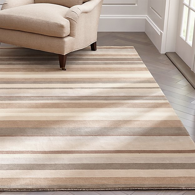 Crate And Barrel Bath Rugs: Barnett Natural Stripe Wool Rug
