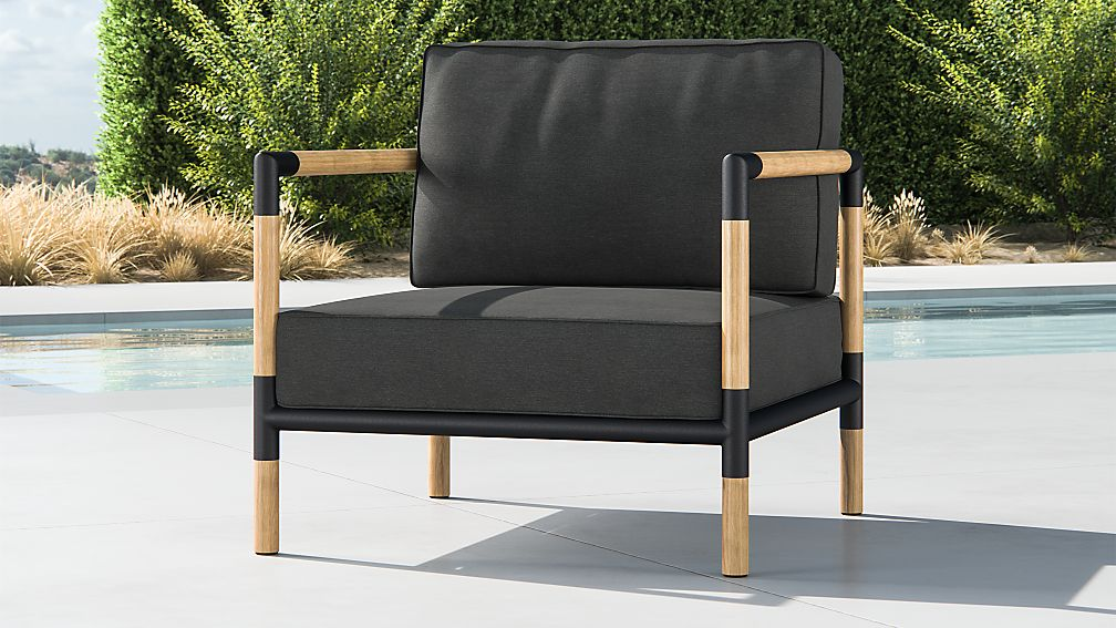 Barra Teak Metal Lounge Chair With Charcoal Sunbrella Cushions Reviews Crate And Barrel