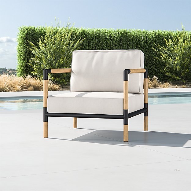 Barra Teak/Metal Lounge Chair with Silver Sunbrella ® Cushions - Image 1 of 5