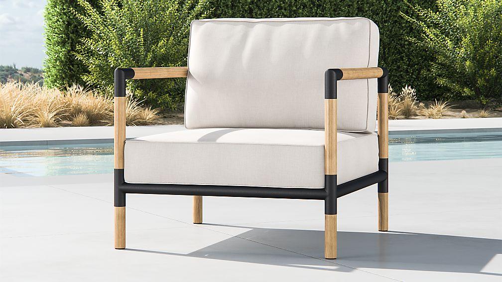 Barra Teak/Metal Lounge Chair with Silver Sunbrella ® Cushions - Image 1 of 5