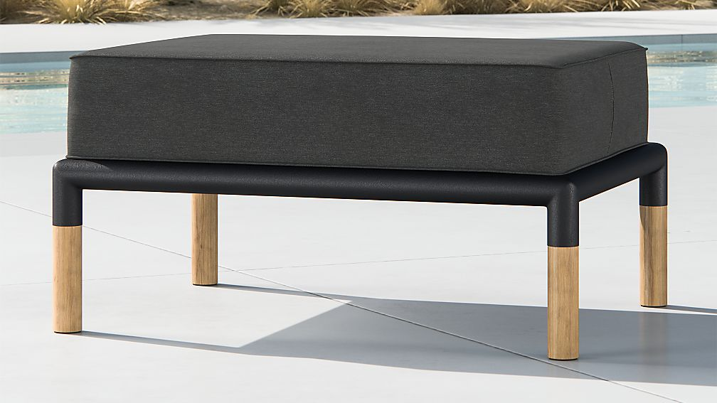Barra Teak/Metal Ottoman with Charcoal Sunbrella ® Cushion - Image 1 of 5