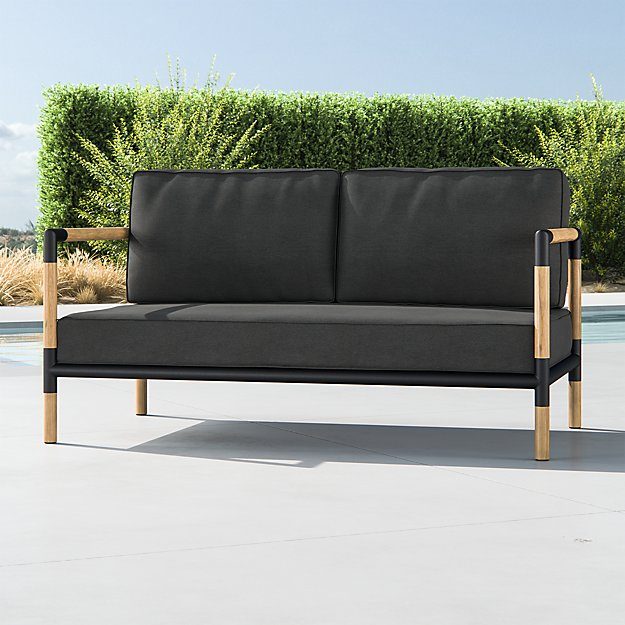 Barra Teak/Metal Sofa with Charcoal Sunbrella ® Cushions - Image 1 of 7