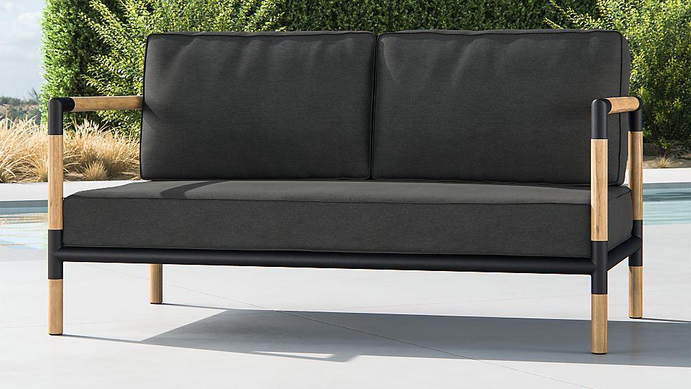 Barra Teak/Metal Sofa with Charcoal Sunbrella Cushions + Reviews ...