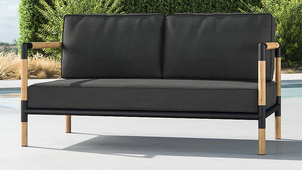 Barra Teak/Metal Sofa with Charcoal Sunbrella ® Cushions - Image 1 of 7