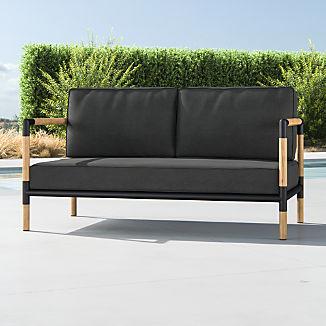 Barra Teak/Metal Sofa with Charcoal Sunbrella ® Cushions