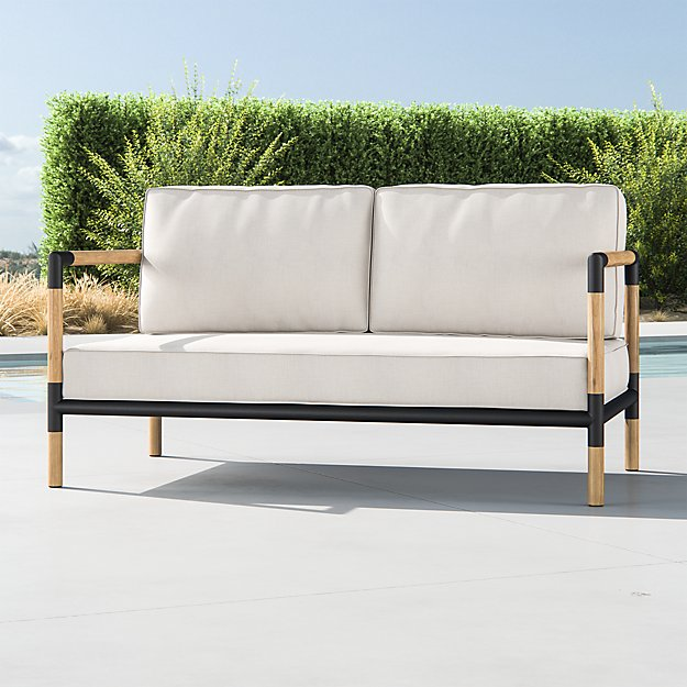 Barra Teak/Metal Sofa with Silver Sunbrella ® Cushions - Image 1 of 6