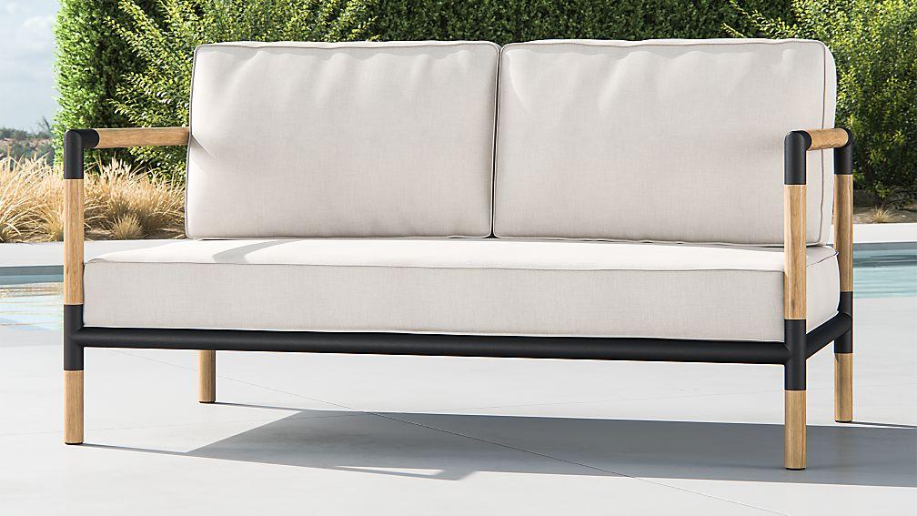 Barra Teak/Metal Sofa with Silver Sunbrella Cushions + Reviews ...