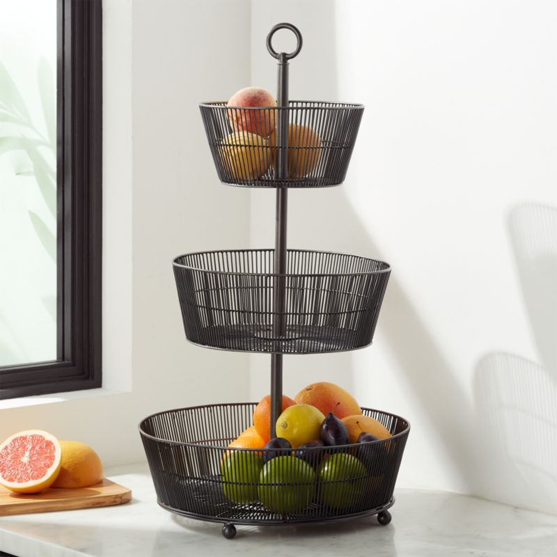 Barrett 3 Tier Fruit Basket Graphite Reviews Crate And