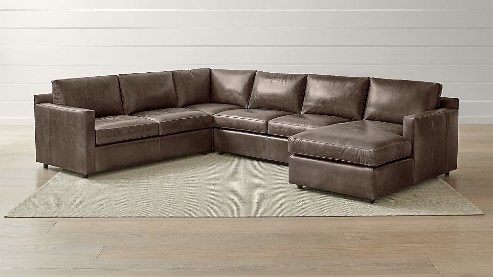 Barrett Leather 4 Piece Right Arm Chaise Sectional Reviews Crate And Barrel