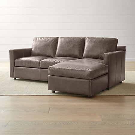 Barrett Leather Right Arm Lounger + Reviews | Crate and Barrel