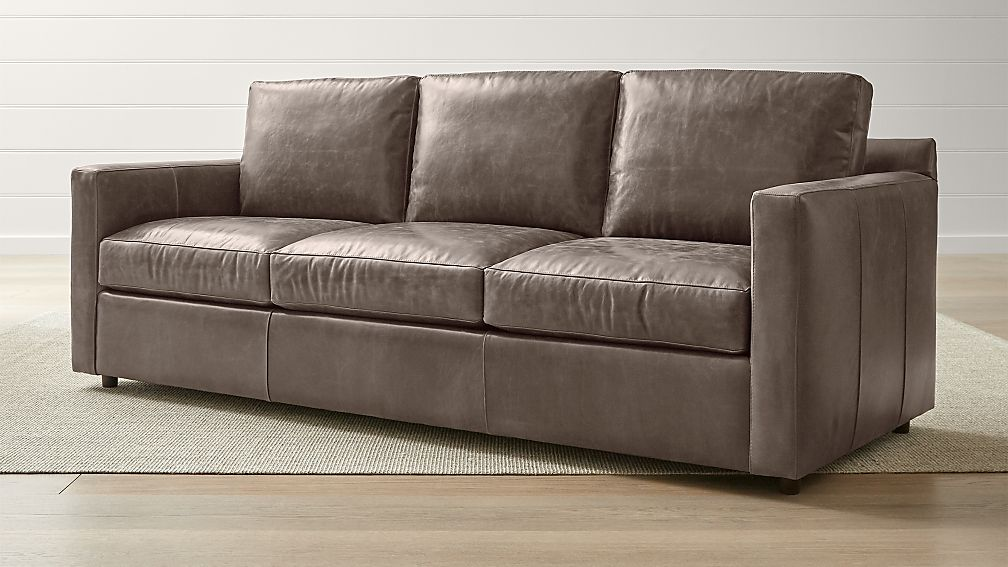 Barrett Leather 3-Seat Track Arm Sofa + Reviews | Crate and Barrel
