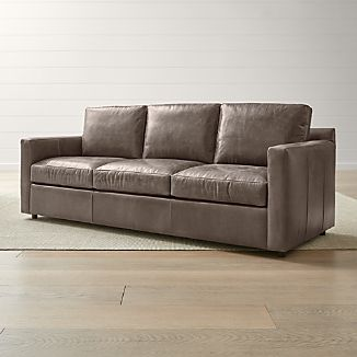 Barrett Leather 3 Seat Track Arm Sofa