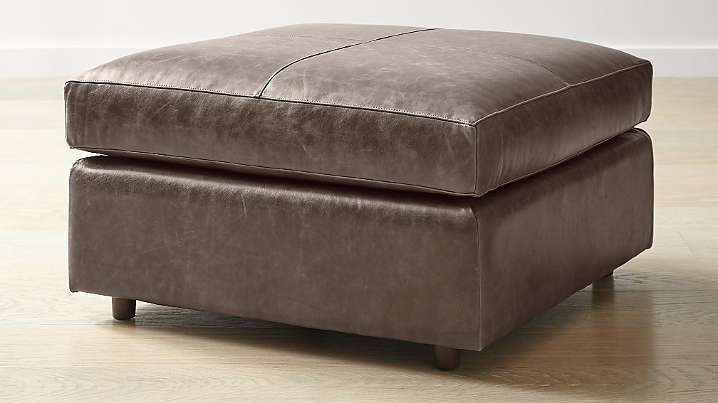 Barrett Leather Square Cocktail Ottoman - Image 1 of 5