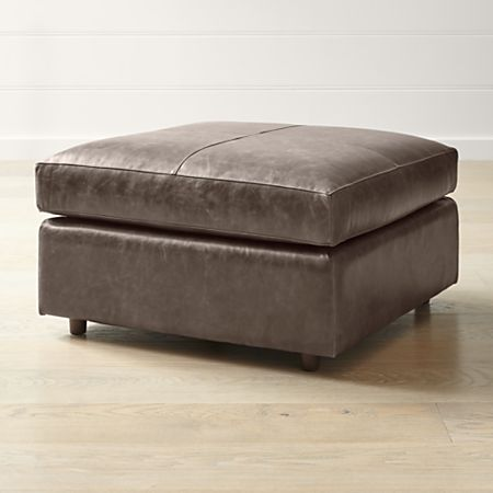 Pleasing Barrett Leather Square Cocktail Ottoman Crate And Barrel Squirreltailoven Fun Painted Chair Ideas Images Squirreltailovenorg