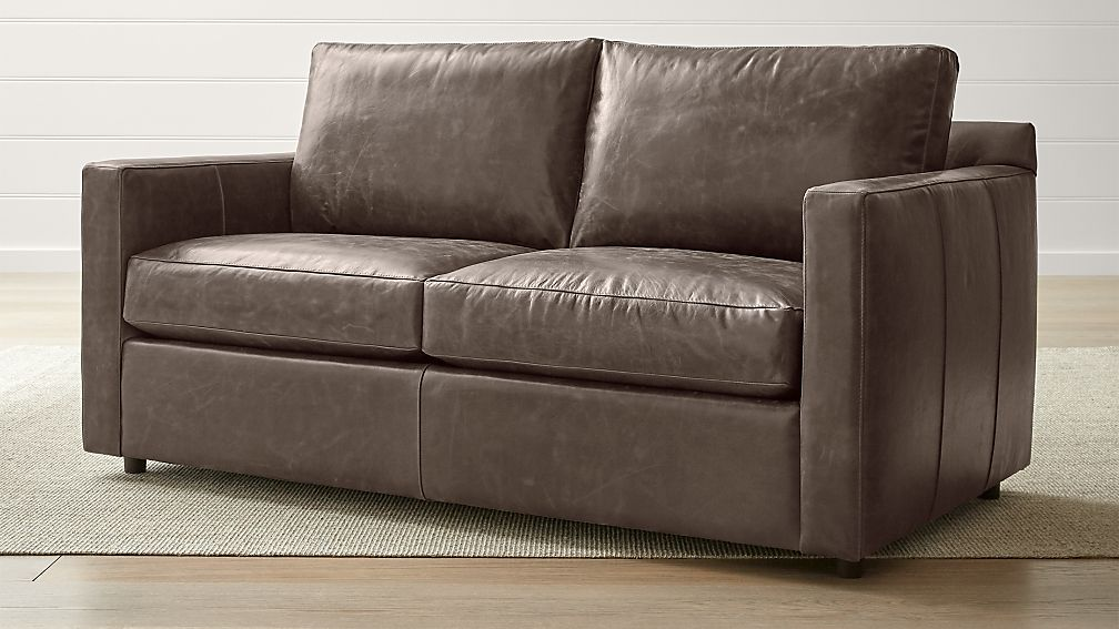 Barrett Leather Track Arm Apartment Sofa + Reviews | Crate and Barrel
