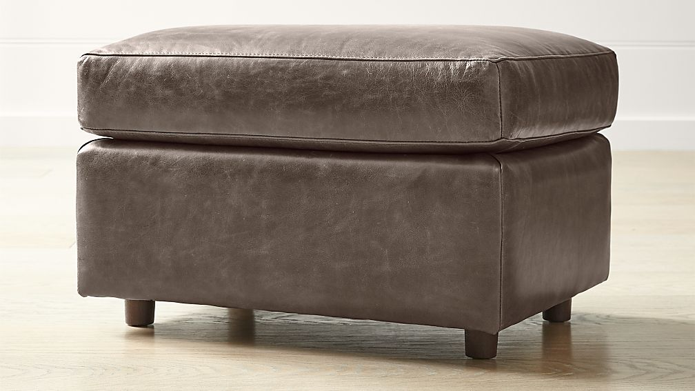 Barrett Leather Ottoman - Image 1 of 5
