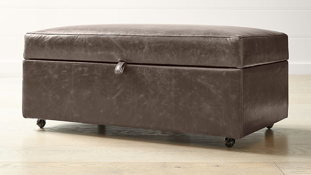 Barrett Leather Storage Ottoman with Tray and Casters - Image 1 of 5