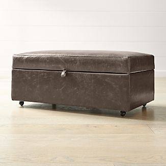 Barrett Leather Storage Ottoman With Tray And Casters