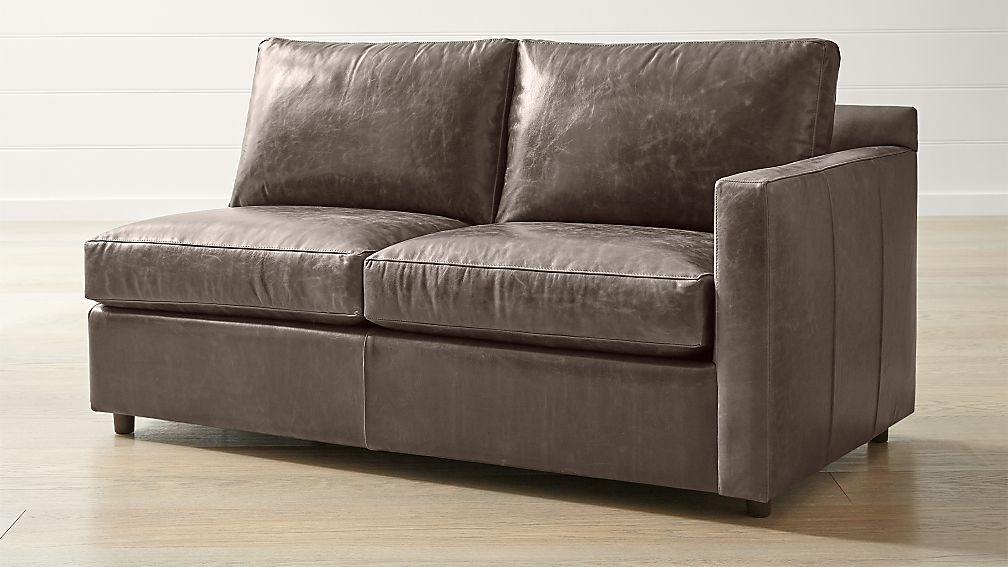Barrett Leather Right Arm Apartment Sofa + Reviews | Crate and Barrel