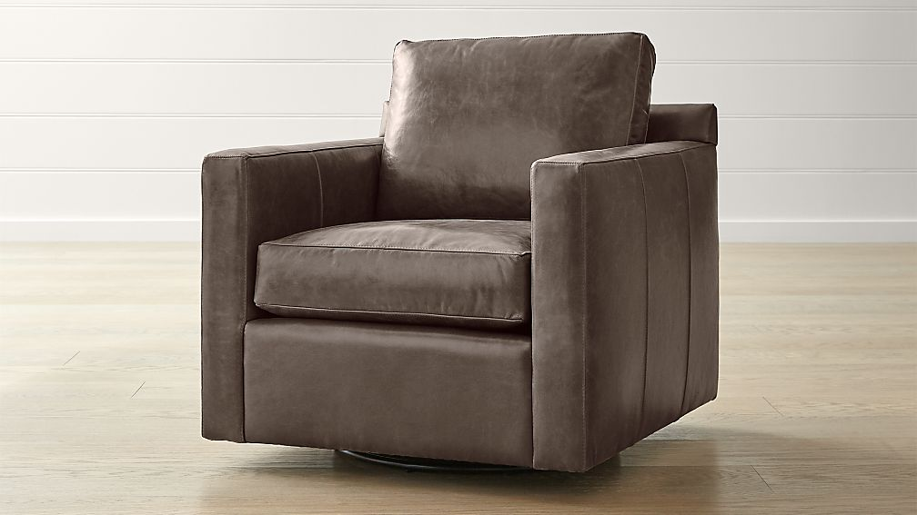 Barrett Leather Track Arm Swivel Chair - Image 1 of 5
