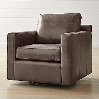 Barrett Leather Track Arm Swivel Chair