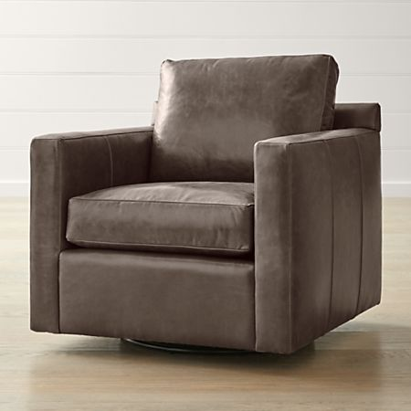 Admirable Barrett Leather Track Arm Swivel Chair Alphanode Cool Chair Designs And Ideas Alphanodeonline